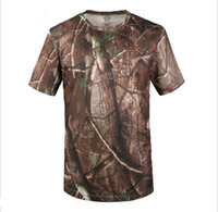 Wholesale Quick dry short sleeved bionic camouflage T shirt camouflage T shirt outdoors hunting T shirt Military style satin cotton Verstellb
