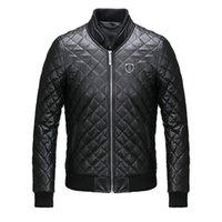 big men leather jackets - Brand New Luxury PHILIP PLEIN Men s Trend PP Big Skull Logo Zipper Leather Cotton Jacket Coat