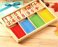 Wholesale DHL Hot Wooden Montessori Mathematical Intelligence Stick Preschool Learning Educational Math Counting TimeToys Baby Children Gifts ZJ T02