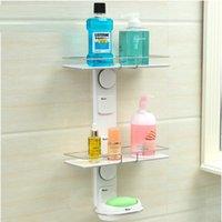 bath shower shelves - Wall mounted powerful suction bathroom shelf three layer shower storage holder sucker ABS bath shelves new design
