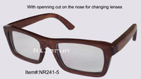 Wholesale hot selling rectangle brown bamboo short sighted optical eyeglasses