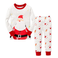 Wholesale Cotton Long Sleeves Boys Kids Clothing Suits Christmas Pajamas Set Piece Girls Sleepwear Fashion Father Christmas Snow Sleepwear