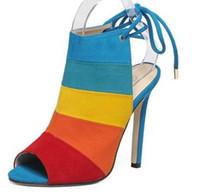 Wholesale Women Sandals Summer thin heel woman shoes Peep toe high heels Gladiator Sandals Lace Up Women heels shoes sandale Plus size