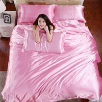 Wholesale Home Textile Solid Silk Satin Queen King Size Luxury Bedding Sets Bedclothes Bed Linen Duvet Cover Set Bed Sheet
