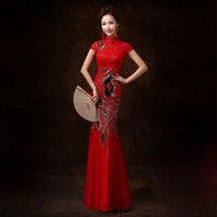 Cheap Cheap In Stock Prom Dresses Embroidery Mermaid Fish Tail Chinese Cheongsam Peacock Red Long Bridal Gowns Party Evening Gowns Free Shipping