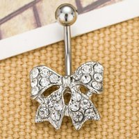 acrylic color stone - 0028 piercing jewelry Newest bowknot style navel belly ring clear color stone drop shipping