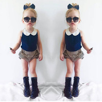 baby sleeveless shirts - Children s Summer Sets Baby Girl Cotton T shirts with Striped Short Pants Babies Princess Outfits