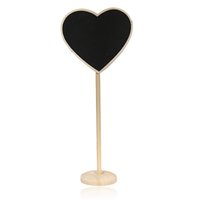 Wholesale pack Excellent Mini Heart Chalkboard Blackboard Wordpad Memo Holder Party Wedding Decor Message Notice Number Tag Board