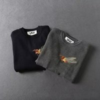 bee knitting - Wool Sweater for men New Fashion Luxury Brand Bee Embroidery Long Sleeves Lamb Wool Sweater Men O neck Knitting Pullover