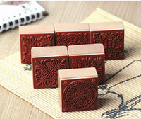 Wholesale DIY Scrapbooking Lace Stamps Vintage Flower Wood Rubber clear stamp Craft Ink Pad Stamp Wax Seal Stamp hot sale