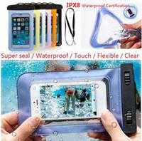 Telefono Caso subacqueo impermeabile universale del sacchetto trasparente libero Diving nuotata per iPhone 6 6s più 5 5c 5s 4s per Samsung DHL libera la nave