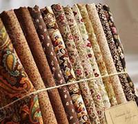 Wholesale ROYAL DIY COTTON design mix brown flower rose feather fabric patchwork textile CM x CM High quality