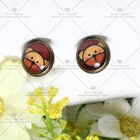 bearing grinding - Big discount mm Fashion Earrings Stud Earrings Glass cabochon earrings Cartoon stud earrings Grind The little bear D019