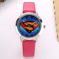 beautiful battery - Cartoon Beautiful superman style dial children students Boy s girl s leather quartz wrist watch