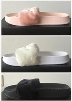 Wholesale Hot sales With dust bag Famous Leadcat Fur Slides Pink Black White Slide Sandal Womens Sandals size Drop Shipping