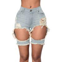 Wholesale Womens Sexy jeans denim shorts Summer Fashion Tint Blue Blue Pink Destroyed Cutoff Bermuda Shorts