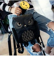 backpacks for women designer - Designer Fashion Women D Printing OWL Backpack PU Leather Owl Animal Student Shoulder School Bags For Teenagers Girls Black Bag Gifts New