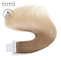 USA Stock 16 '' 20Pcs / pack 1.5g / pc 30g / pack Bande dans les extensions de cheveux humains REMY 100% Indian Peau Trame extensions Ombre couleur rapide Expédition
