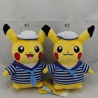 Sourire vidéo Prix-Navy Style Pikachu 20cm Jouets en peluche Poupées souples Anime Smile Cartoon Pikachu Poke jouets en peluche OOA616