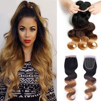 hair weft - Ombre Hair Extensions Three Tone Brown Blonde B Ombre Brazilian Body Wave Human Hair Weave Bundles x4 Closure with Hair weft
