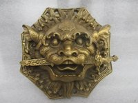 bad feng shui - A Pair of Elaborate Chinese Brass feng shui auspicious beast statue knocker to ward off bad luck