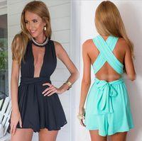 Wholesale Sale Chiffon Black Jumpsuit - 2016 Summer Beach rompers womens jumpsuit chiffon sexy fashion sale black backless bodysuit sexy play suits