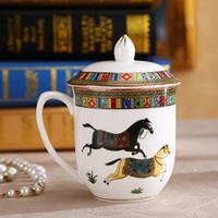 Wholesale Porcelain mug bone china mugs the god horses design outline in gold ceramic coffee mugs with lid