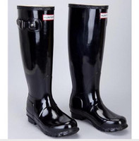 Wholesale For Women Hunters Rain Boots Ms glossy Wellies Over knee High Tall boots Low heel high Fashion for laday with buckle Straps hunter