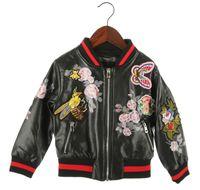 Wholesale 2016 New Autumn Girls PU zipper Jacket Bee Butterfly embroidery Flower print fashion Aviator Jacket for Children T Kids Warm coat EMS DHL