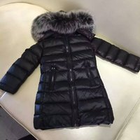 Cheap ME10 Brand Boys girls real raccoon fur collar kids long jacket outwear winter french warm snow coat anorak children parka