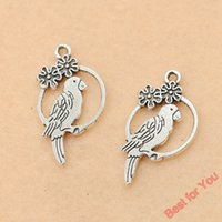 antique parrot - 10pcs Antique Silver Tone Cute Parrots Birds Charm Pendant Jewelry Diy Jewelry Findings x15mm jewelry making
