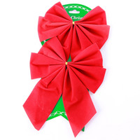 Wholesale Bowknot Christmas Tree Decoration Velvet Hanging drops Xmas Butterfly Knot Small Baubles Ornament In Pack Product Code