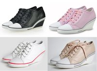 Wholesale Women s Ash Genial Small Wedge Sneakers Sheepskin Low top Lace Up Fashion Genuine Leather ASH Trainers Tide Leather Sport Shoes Size