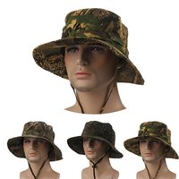 Wholesale hats Camouflage Fishing Sun Caps Unisex Inch Flat Chapeau Bob Toca Outdoors Panama Summer Polo Cotton Bucket Hats For Men