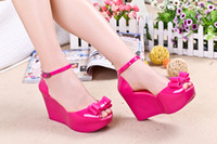 Cheap Wholesale-Free shipping 2015 Melissa jelly shoes fashion wedge sandals bow platform peep-toe heels Waterproof with 9 cm high 35 to 39