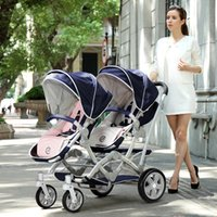 Wholesale Luxury Bidirectional Folding Twins Stroller Double Baby Stroller Pushchair Pram With Two Seats By Baby Carriage