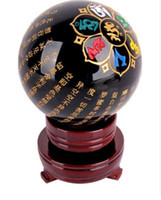 bamboo sphere - 75mm mm Narural obsidian quartz Crystal carving scriptures Sphere Ball Healing stand