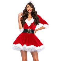 Wholesale New Chrimas Miss Santa Baby Crystal Velvet Holiday Dress V Neck Belt Hooded X mas Dress Costume Sexy Cosplay For Women