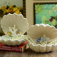 Wholesale New pottery and porcelain handmade China Luxury scallop furnishing articles best gift for new house wedding tabletop floor TV decoration