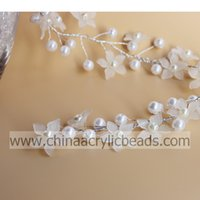 beaded spray - 26MM high quality artificial crystal beaded pearl spray branch with wire stem