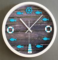 antique lighthouse - European mediterranean lighthouse buoy nostalgic wood rot fish clock quartz clock stereo wall clock