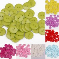Wholesale 100Pcs Candy Color Plastic Sewing Buttons Scrapbook mm Holes For Craft DIY Snowpear C00027 SMAD