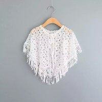 Cheap Baby Girls Lace Cape Poncho 2016 Summer Children Sleeveless for Kids Clothing New Tassels Jacket