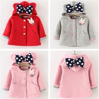 Wholesale Girls Kids Clothing Clothes Autumn Winter Long Sleeve Coat with Rabbit Ear and Bow Kids Outfits Fashion Children Clothing Colors
