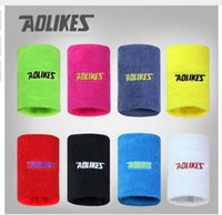 Wholesale AOLIKES pair Gym Yoga Cotton Sweat Wristbands Sport Wrist Brace Support inch Sweatband For Tennis Badminton Running