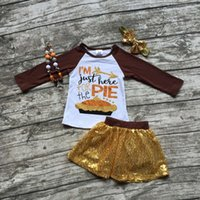 Wholesale Girls fall boutique clothes girls I am just here for the pie clothes girls top with sequin skirts sets with accessoreis