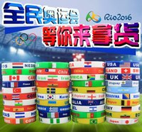 Wholesale Hot Fashion Brazil Rio de Janeiro Olympic Games Flags Silicone Wristband Countries New Arrival