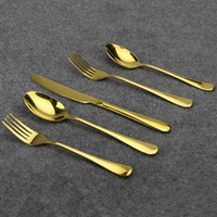 Wholesale Aoosy High Quality Tableware13 Stainless Steel Gold Plated Knife fork spoon Kit Dinnerware Fine Polishing Flatware Set