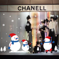 Wholesale window Christmas decoration Non trace without glue electrostatic wall post clothing store electrostatic merry Christmas window