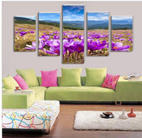 beautiful pictures world - 5 Purple orchid beautiful home decor canvas on canvas wall decoration pictures into the world of oil painting